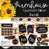 Farmhouse Classroom Theme Decor Bundle-(EDITABLE)-Sunflowers