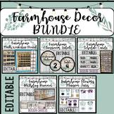 Farmhouse Classroom Decor Bundle EDITABLE