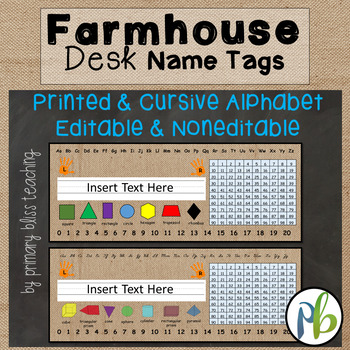 Farmhouse Classroom Decor Desk Name Tags (Desk Name Plates)