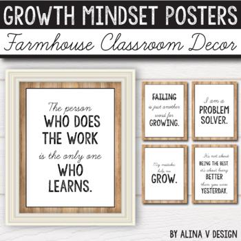 Farmhouse Classroom Decor - Growth Mindset Posters - Editable