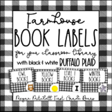 Farmhouse Classroom Decor Library Book Labels with Black & White Buffalo Plaid