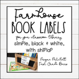 Farmhouse Classroom Decor Library Book Labels with White Shiplap