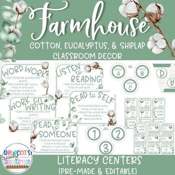 Farmhouse Classroom Decor - Literacy Center Rotations & Posters (EDITABLE)