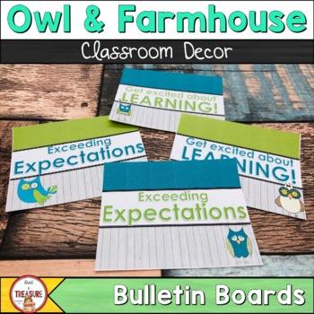Farmhouse Classroom Decor (Teal and Green) Editable