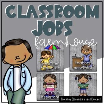 Farmhouse Classroom Jobs Editable Options Included