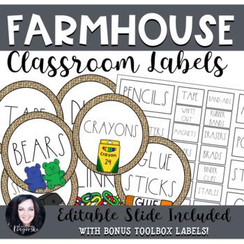 Farmhouse Classroom Labels (Dunn Inspired)