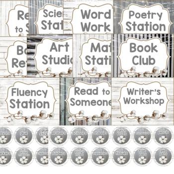 Farmhouse Theme Classroom Labels with Tin, Shiplap & Cotton