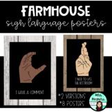 Farmhouse Classroom Sign Language Posters