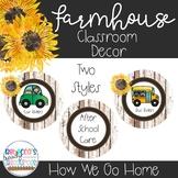 Farmhouse Classroom Theme Decor - Sunflowers - How We Go Home Display