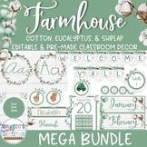 Farmhouse Classroom Theme Decor Bundle - (EDITABLE)
