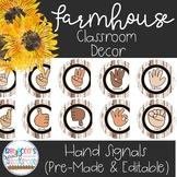 Farmhouse Classroom Theme - Hand Signals for Classroom Management  (EDITABLE)