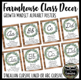 Farmhouse Decor Cursive Alphabet Posters (Growth Mindset Quotes)- EDITABLE