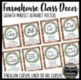 Farmhouse Classroom Decor Cursive Alphabet Posters (Growth Mindset Quotes)