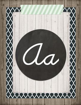 Farmhouse Cursive Alphabet Posters Option 1
