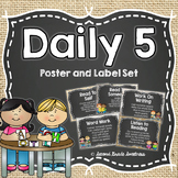 Farmhouse Daily 5 Poster and Label Set EDITABLE