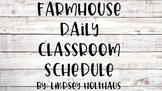 Farmhouse Daily Classroom Schedule Cards