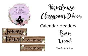 Farmhouse Decor-Barn Wood Calendar Headers
