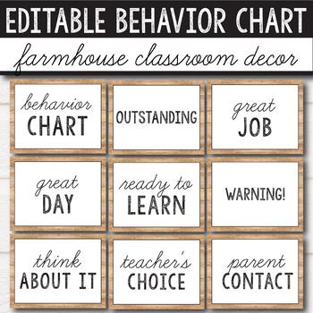 Farmhouse Decor - Behavior Chart Editable