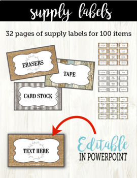 Farmhouse Decor Bundle: Banner, Edison Lights, and 100 Editable Labels