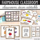 Modern Farmhouse Classroom Decor Bundle, Classroom Jobs, Editable Labels