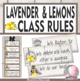 Farmhouse Decor Classroom Rules Lavender and Lemons - EDITABLE