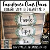 Farmhouse Classroom Decor - Editable 3 Drawer Sterilite Labels