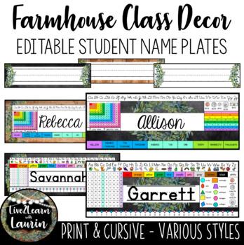 Farmhouse Decor - Editable Student Name Plates (Various Styles)