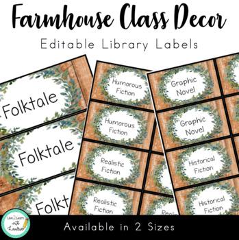 Farmhouse Decor: Library Labels (EDITABLE)