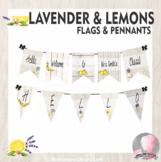 Farmhouse Decor Pennants Chevrons Flags Lavender and Lemon