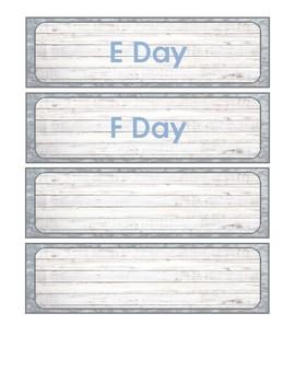 Farmhouse Decor: Schedule Cards
