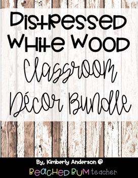 Farmhouse Distressed White Wood Classroom Decor Bundle