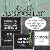 Farmhouse EDITABLE Classroom Rules - Whole Brain and Love