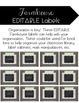 Farmhouse Editable Labels