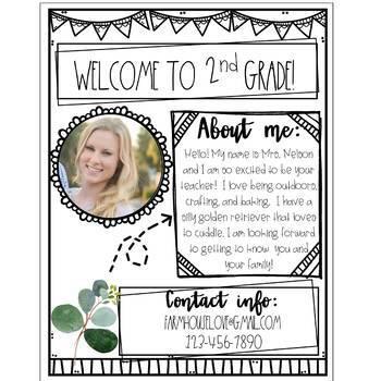 Farmhouse Editable Meet the Teacher