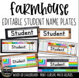 Farmhouse Editable Student Name Plates
