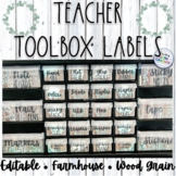 Farmhouse Teacher Toolbox Labels: Dark Wood: Editable