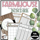 Farmhouse Editable Yearly Teacher Binder - MEGA SET - Incl