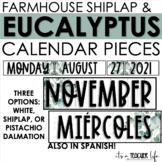 Farmhouse Eucalyptus Calendar   Classroom Decor