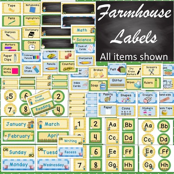 Farmhouse/Farm Animals/Country Labels - Classroom Decor - blue green yellow