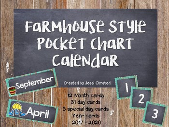 Farmhouse Fixer Upper Pocket Chart Calendar