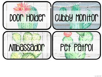 Farmhouse Flair Cactus Classroom Jobs
