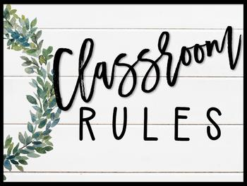 Farmhouse Flair Magnolia Classroom Rules Posters {Editable}