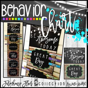 Farmhouse Flair NEON Behavior Chart {Editable}