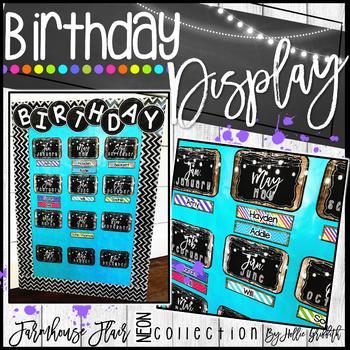 Farmhouse Flair NEON Birthday Display {Editable}