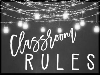Farmhouse Flair NEON Classroom Rules Posters {Editable}