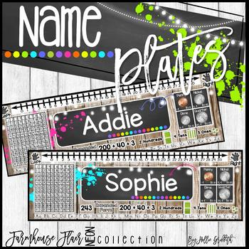 Farmhouse Flair NEON Name Plates and Desk Helpers {Editable}
