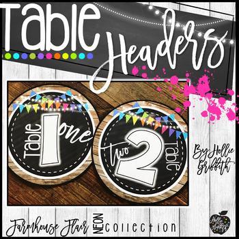 Farmhouse Flair NEON Table Headers FREEBIE