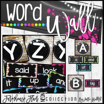Farmhouse Flair NEON Word Wall {Headers and Sight Words - Editable}