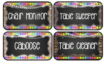 Farmhouse Flair Neon Classroom Jobs {Editable}