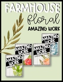 Farmhouse Floral Amazing Work Coming Soon Poster